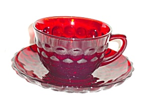 Anchor Hocking Bubble Ruby Cup And Saucer