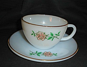 Fire King Anniversary Rose Cup And Saucer