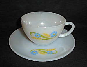 Fire King Forget Me Not Cup And Saucer Set