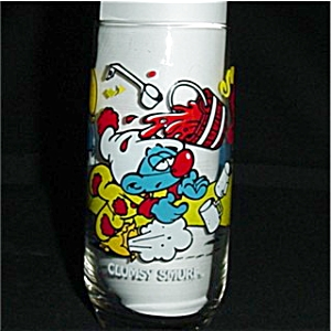Clumsy Smurf Character Glass