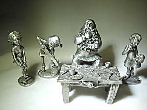 Hudson Pewter Santa's Workshop Figurines