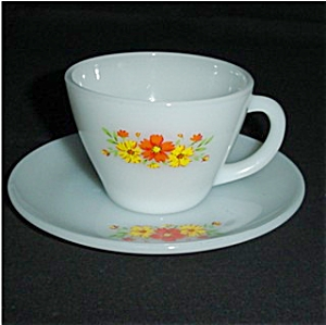 Fire King Orange Carnation Cup and Saucer (Image1)