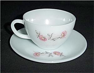 Fire King Fleurette Cup and Saucer (Image1)