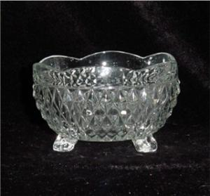 Indiana Glass Three Toed Crimped Bowl