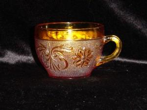 Amber Sandwich Glass Cup