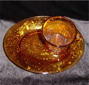Amber Sandwich Glass Luncheon Set