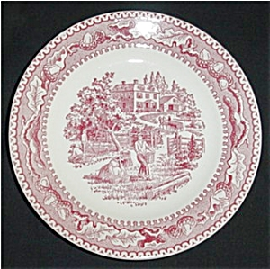 Pink Currier and Ives Bread and Butter Plate (Image1)