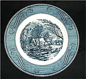 Blue Currier and Ives Dinner Plate (Image1)