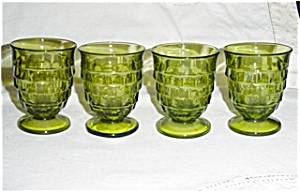 Green Cubist Pattern Set of 4 Glasses (Image1)