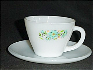 Fire King Carnation Coffee Cup and Saucer (Image1)