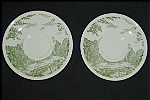 U.S.A Green Pattern Saucer Set of Two (Image1)
