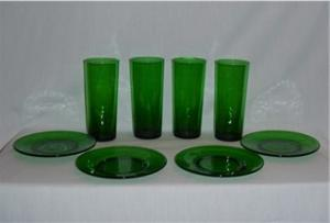 Anchor Hocking Green Tumblers & Plates
