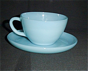 Fire King Turquoise Blue Cup and Saucer (Image1)