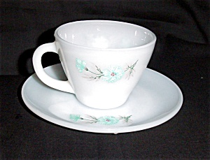 Fire King Cornflower Blue Cup and Saucer (Image1)