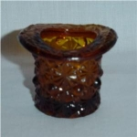 Amber Top Hat Glass Toothpick Holder
