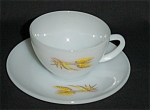 Click here to enlarge image and see more about item 1064s: Fire King Wheat Cup and Saucer Set