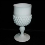 Click here to enlarge image and see more about item 1084: Indiana Milk Glass Diamond Point Goblet