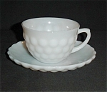 Click here to enlarge image and see more about item 1089s: Anchor Hocking White Bubble Cup and Saucer