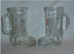 Click here to enlarge image and see more about item 1100: Glass Boot Mugs