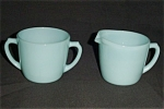 Fire King Turquoise Blue Creamer and Sugar