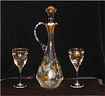 Click here to enlarge image and see more about item 1174: Crystal Wine Decanter and 2 glasses