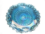 Click here to enlarge image and see more about item 1197s: Blue Iridescent Indiana Glass Bowl