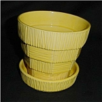 Click here to enlarge image and see more about item 126s: Yellow McCoy Basket Weave Planter
