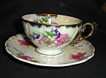 Click here to enlarge image and see more about item 1279s: Japan Luster Floral Cup and Saucer Set