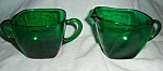 Anchor Hocking Green Charm Sugar and Creamer