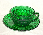 Click here to enlarge image and see more about item 1303s: Anchor Hocking Green Bubble Cup and Saucer