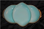 Click here to enlarge image and see more about item 1341: Fire King Turquoise Blue Relish Dish