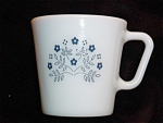 Click here to enlarge image and see more about item 1348: Pyrex Blue Floral Pattern Coffee Mug