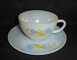 Click here to enlarge image and see more about item 1360s: Fire King Forget Me Not Cup and Saucer Set