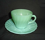 Click here to enlarge image and see more about item 1470s: Fire King Jadite Shell Cup and Saucer