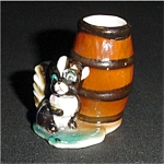 Vintage Skunk and Barrel Toothpick Holder