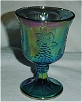 Click here to enlarge image and see more about item 252s: Indiana Carnival Glass Blue Grape  Goblet