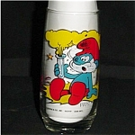 Click here to enlarge image and see more about item 270s: Papa Smurf Character Glass
