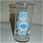 Click here to enlarge image and see more about item 284s: Care Bear Grumpy Bear Pizza Hut Glass