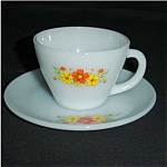 Click to view larger image of Fire King Orange Carnation Cup and Saucer (Image1)