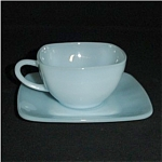 Click here to enlarge image and see more about item 341s: Fire King Blue Azurite Charm Cup and Saucer