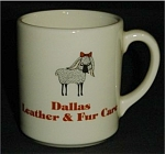 Click here to enlarge image and see more about item 364s: 1982 Dallas Leather and Fur Care Coffee Mug