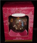 Click here to enlarge image and see more about item 423h: Jolly Visitor Ball Hallmark Ornament