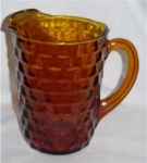 Click here to enlarge image and see more about item 430: Amber Cubist Iced Tea Pitcher
