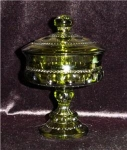Click here to enlarge image and see more about item 445: Green Kings Crown Pattern Candy Dish