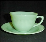Fire King Jane Ray Jadite Cup and Saucer