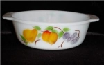 Click here to enlarge image and see more about item 475: Fire King Gay Fad Fruits Casserole Dish