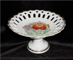 Click here to enlarge image and see more about item 501: Napco Handpainted Footed Dish