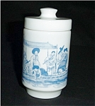 Click here to enlarge image and see more about item 531s: Milk Glass Jar / Container Made in Belgium