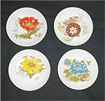 Miniature Floral Design Plates Set of 4