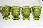 Green Cubist Pattern Set of 4 Glasses